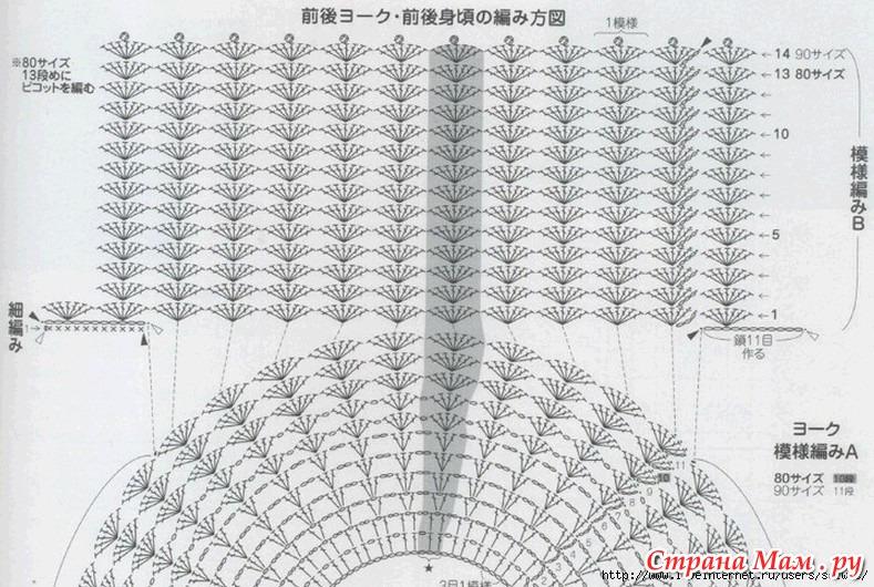 Схема вязания туники для девочки крючком 70