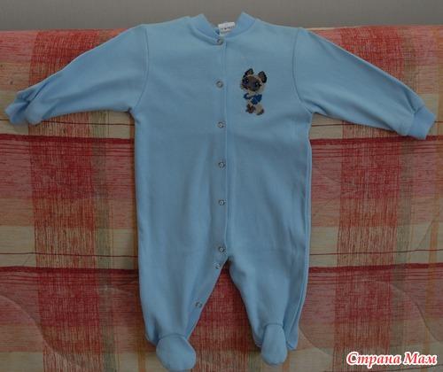 Подарок новорожденному - вышивка на комбинезончике.
