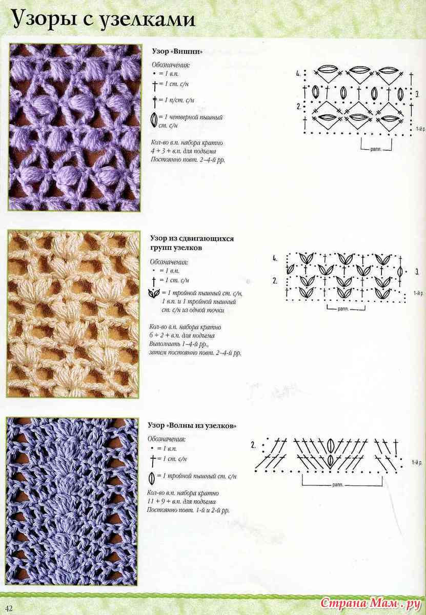 Схема вязания узора узелок