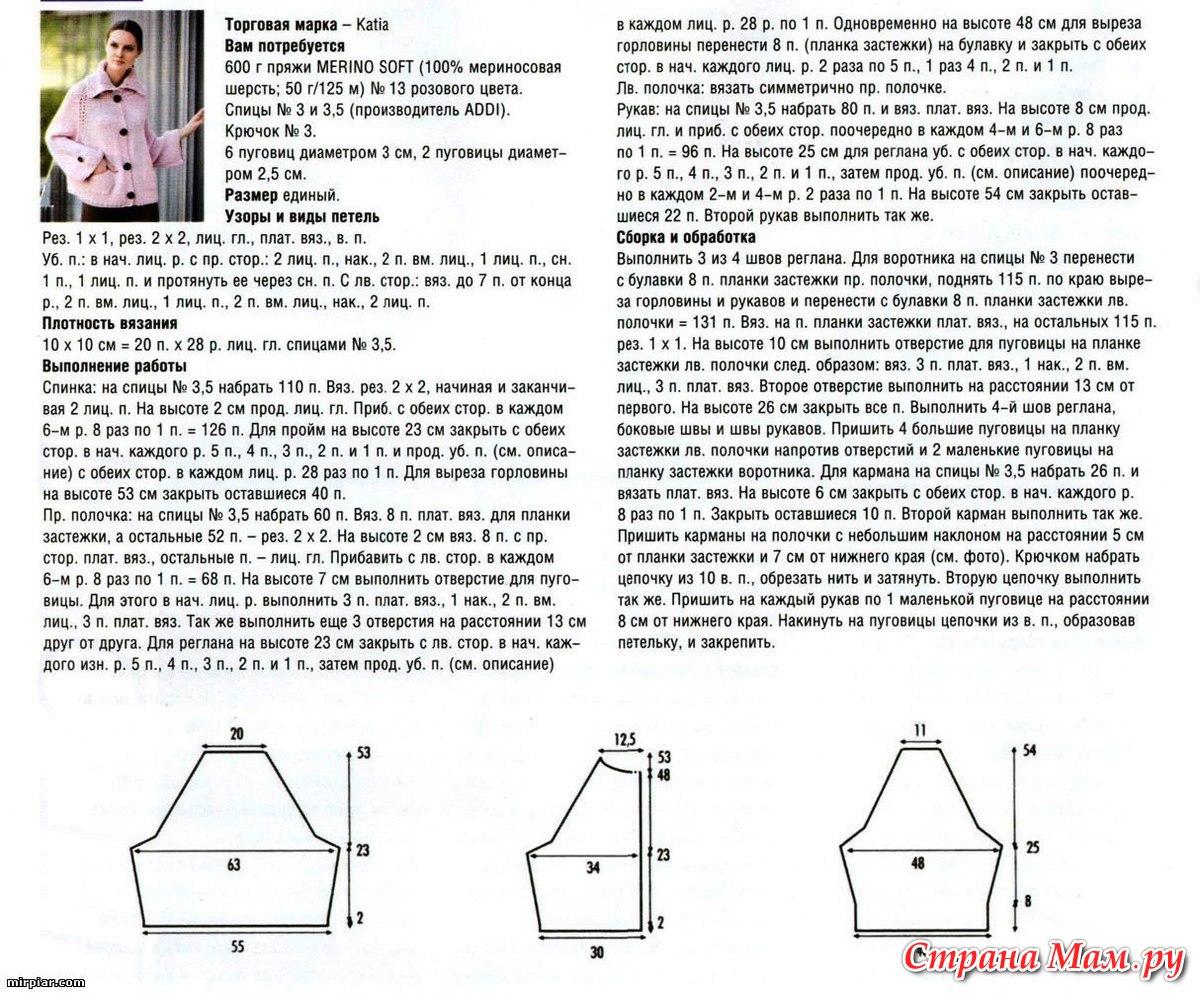 Описание работы вязания регланом