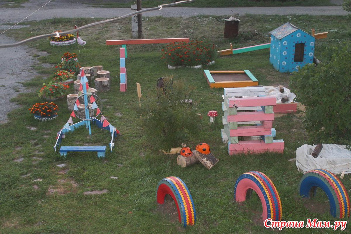 Детская площадка своими руками из подручных средств на даче фото