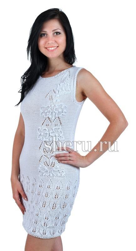 Вязание платье спицами хлопок 38