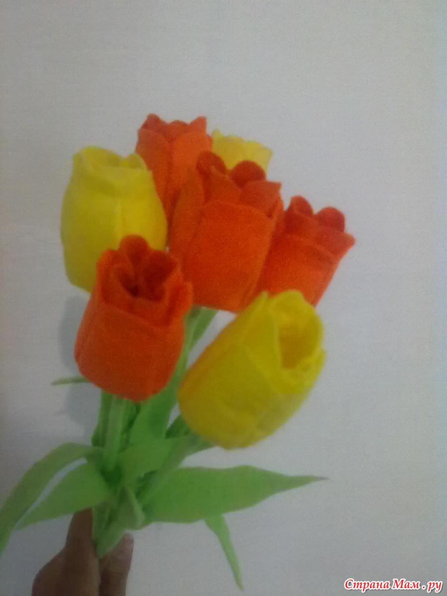 Тюльпан из салфеток своими руками 23
