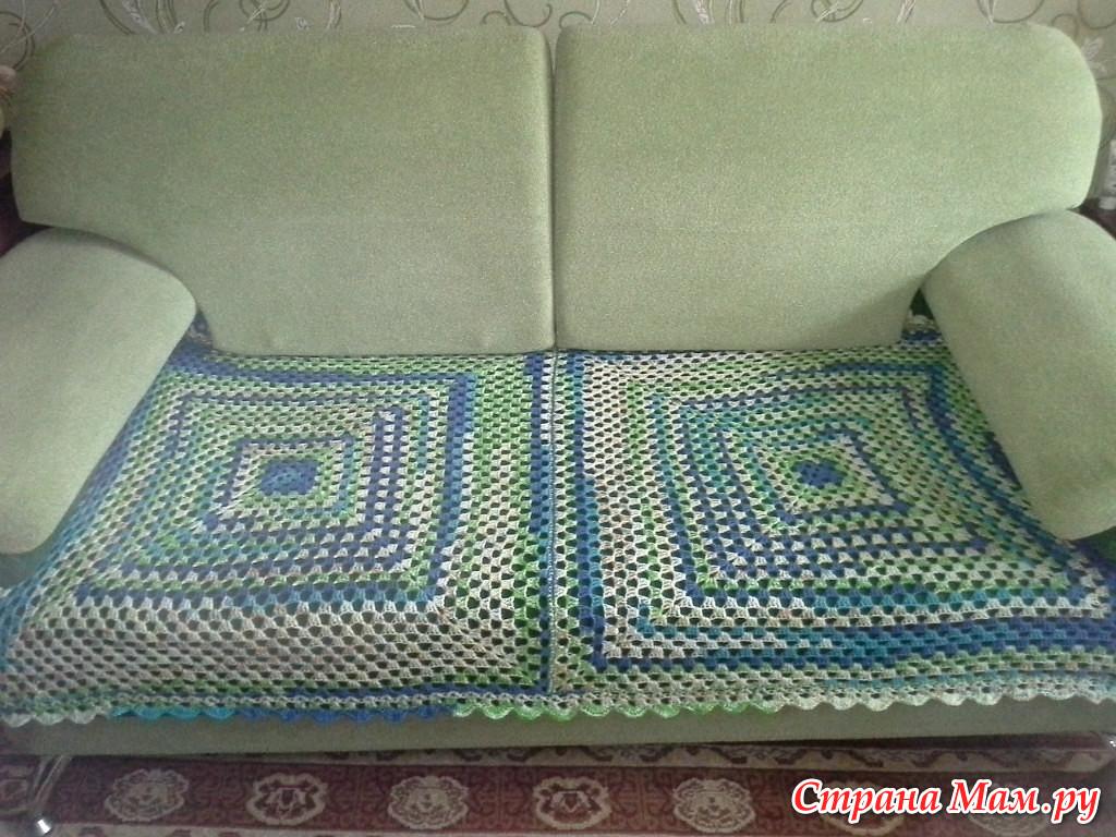 Вязание крючком покрывало на угловой диван 93
