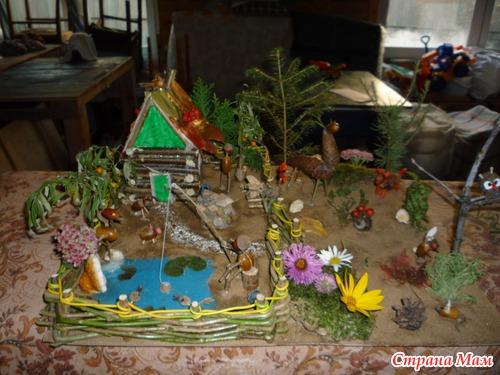 Пришли в садик и нам воспитатель говорит -надо сделать поделку в садик из природного материала, будет конкурс между...