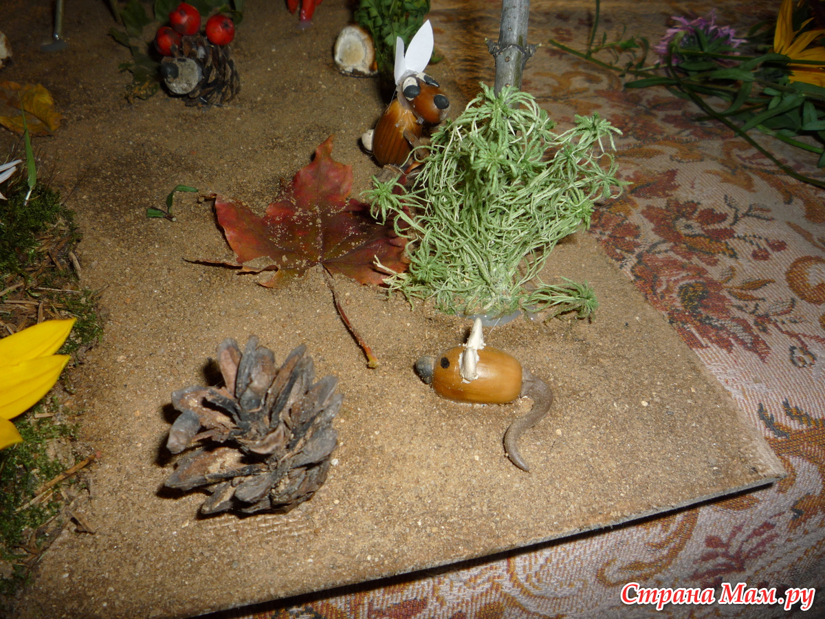 Поделки из природного материала лисички