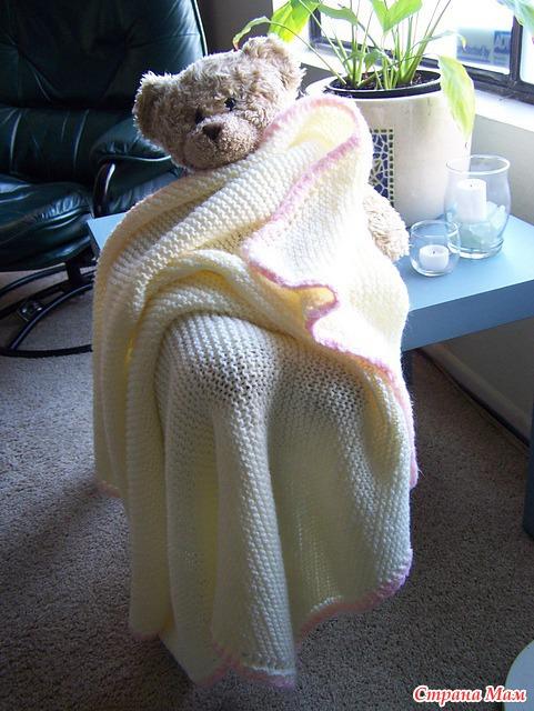 Вязание спицами одеяло для новорожденных 47