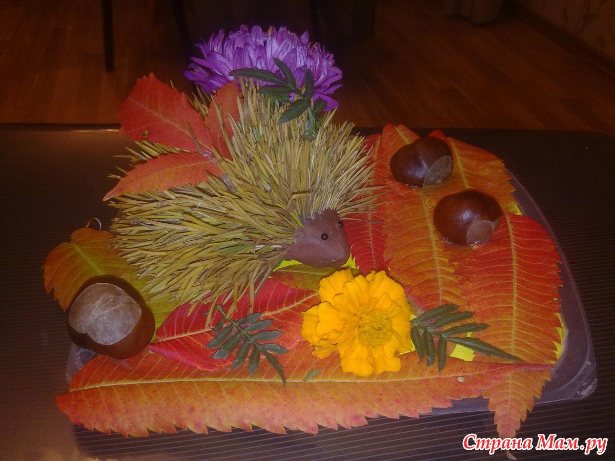 Поделка на тему осень в садик из листьев