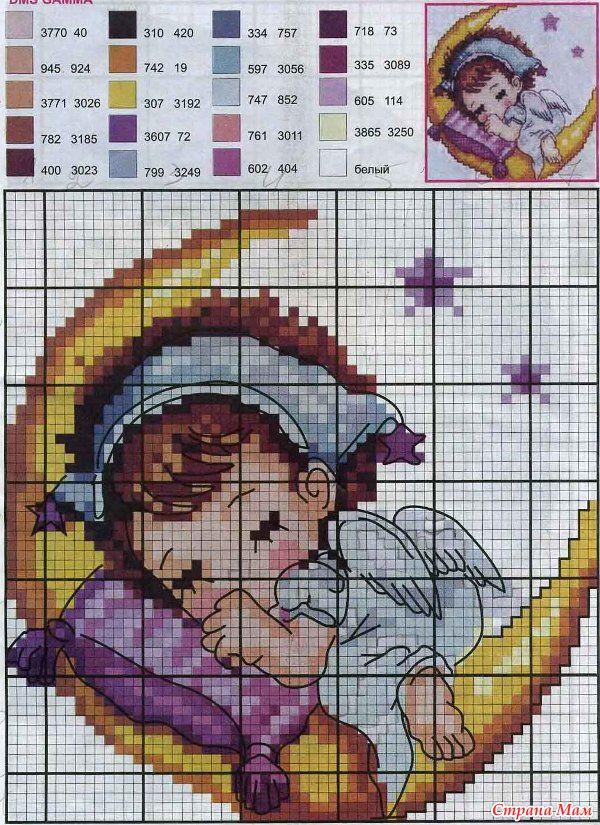Схема вышивки ангелочков