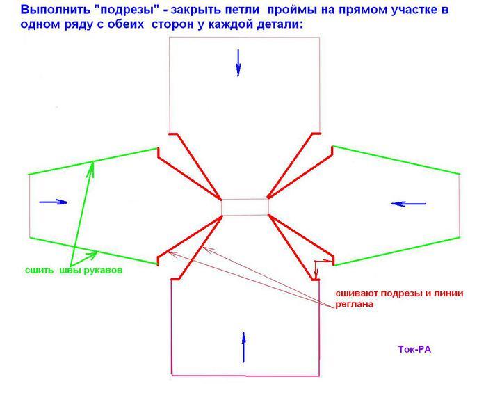 Вязание реглан снизу спицами схема 11