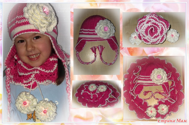Комплект осенний (шапочка, шарф) для девочки 4,5 лет