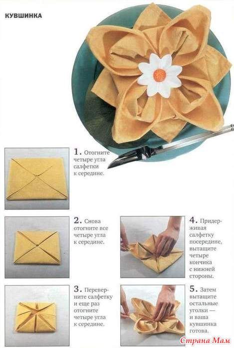 Салфетки на стол сервировка бумажные своими руками