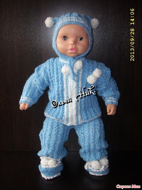 Вязание спицами для малышей костюмчик до года 201