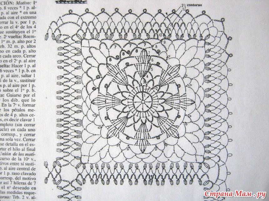 Вязание крючком скатерти из ажурных квадратов схемы