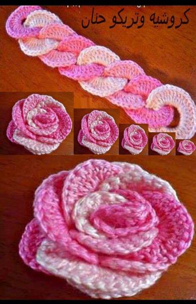 Вязание розы нитками - Вязание крючком. 5517 схемы вязания платья, шали, кофты