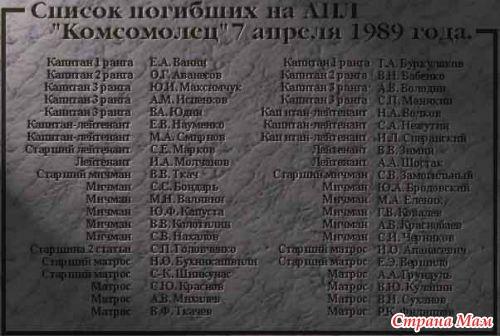 список погибших экипажа к-8 забывайте, что