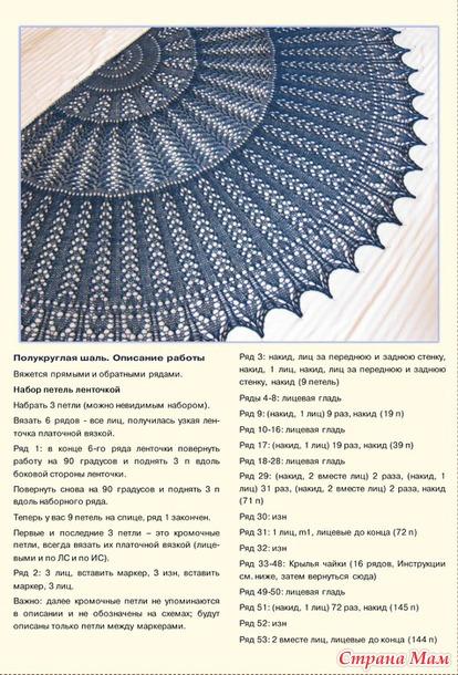 Описание для полукруглой шали