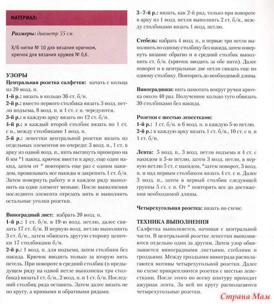 Салфетка гроздья винограда с описанием и схемой