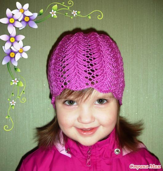 Ажурная шапочка (спицы).
