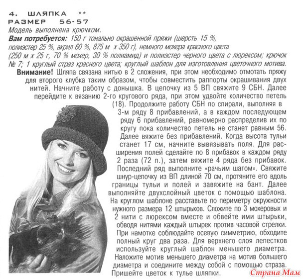 Вязание шляпок спицами схемы вязания 261