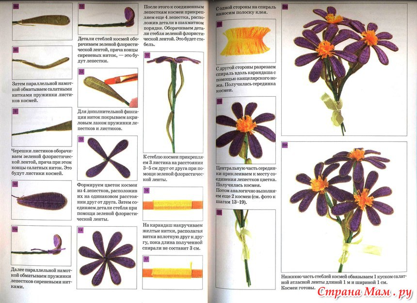 Цветы из ниток своими руками мастер класс схемы8