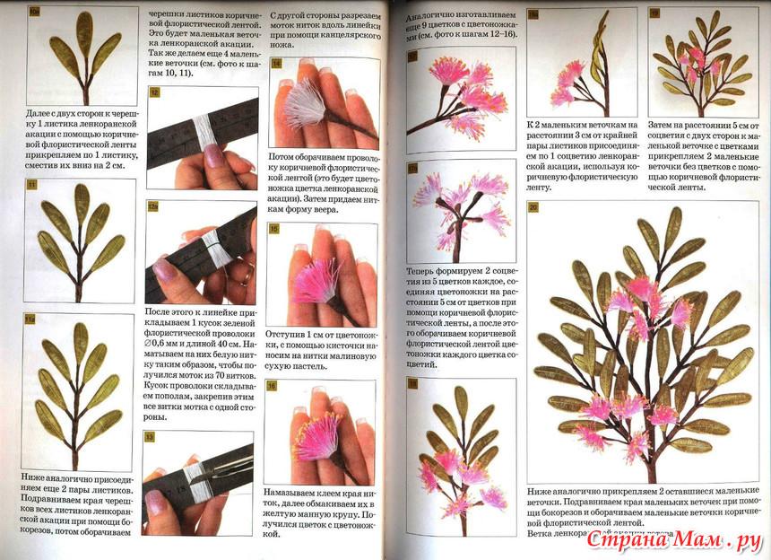 Цветы из ниток и проволоки 3