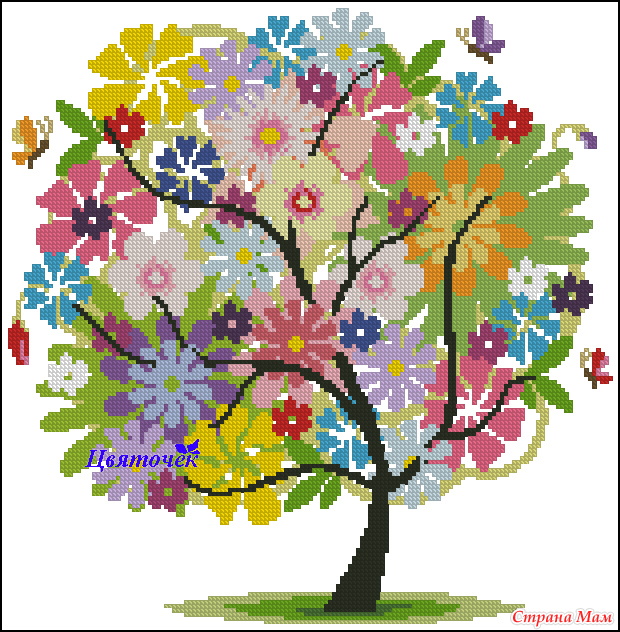 Вышивка схема дерево времена года