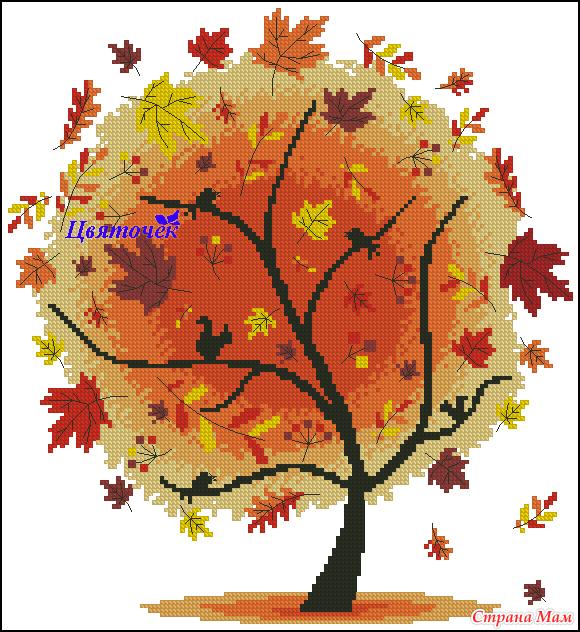 Дерево времена года схема вышивки