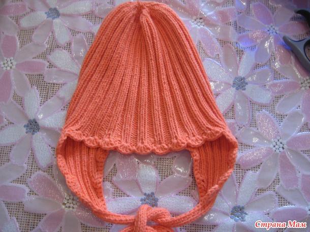 Шапочка с завязками для малышей спицами. Он-лайн.