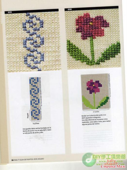 Схемы вышивки на вязанных изделиях