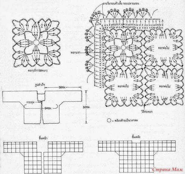Схема вязания летней кофточки из мотивов крючком