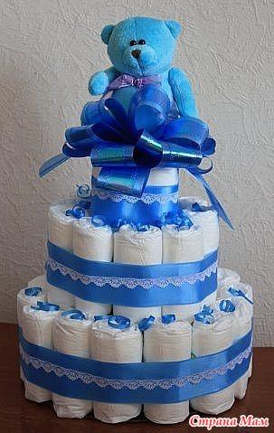 Торт из памперсов своими руками для мальчика мастер класс