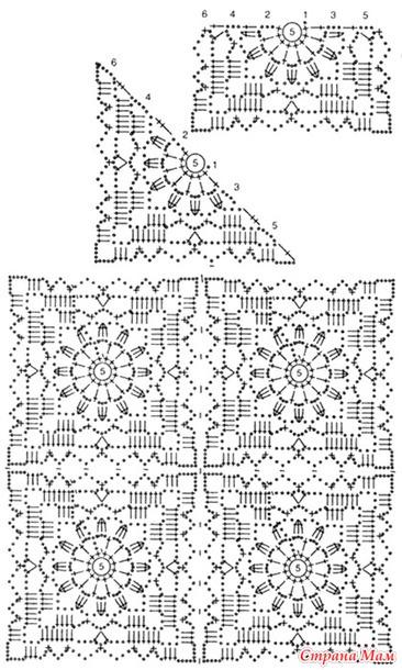 Ажурная кофточка вязание квадратных мотивов