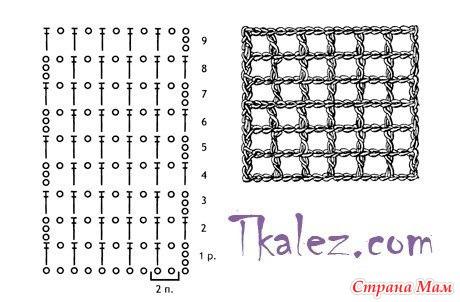 Вязание крючком филейная сетка схема