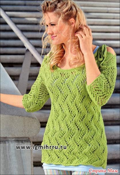 Светло-зеленый ажурный пуловер  с кокетливыми завязками