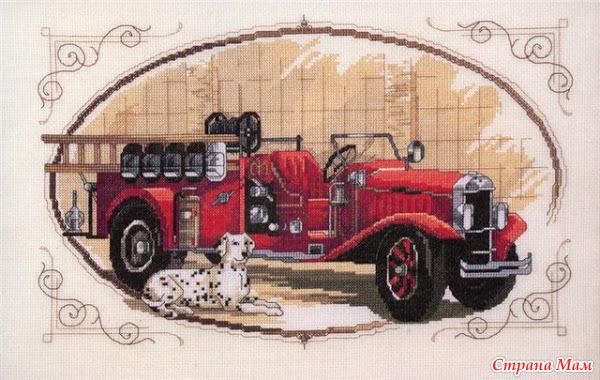 Вышивка на пожарная машина