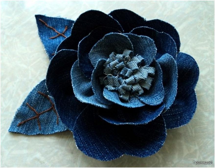 Цветок из джинс своими руками