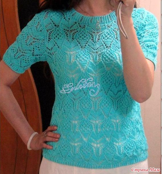 Пуловер с красивым узором. Спицы.