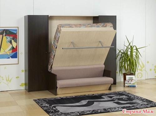Откидной диван на стене