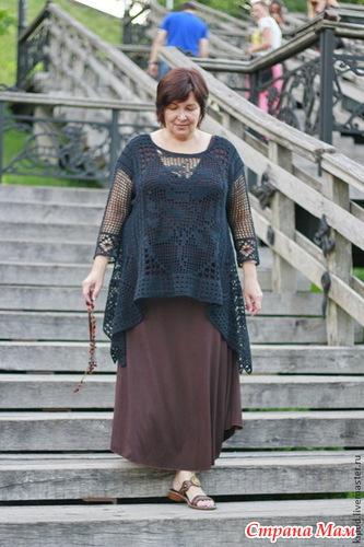 钩针:复古方格牡丹花长款针织罩衣  - 荷塘秀色 - 茶之韵