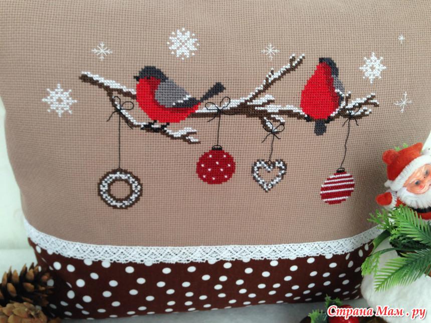 Новогодняя подушка вышивка