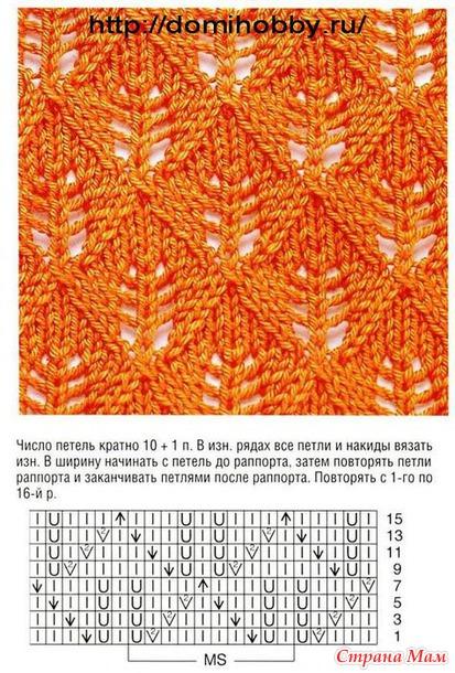 Вязание узор листочками на спицах образец