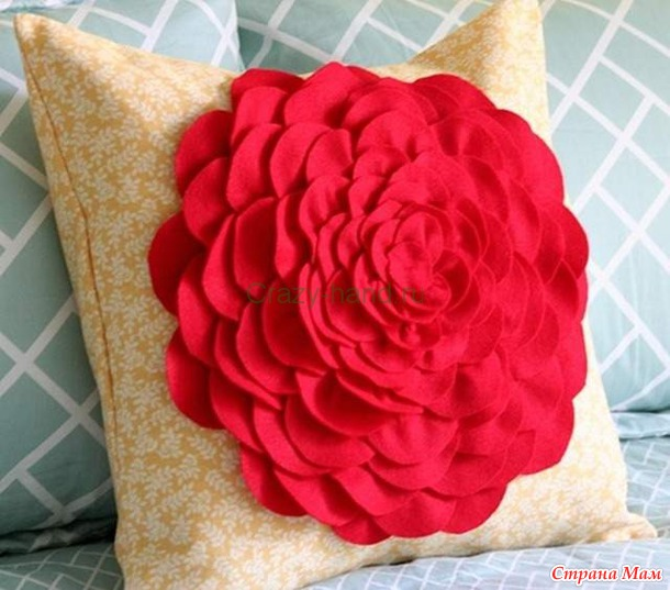 Сделать декоративную подушку цветком
