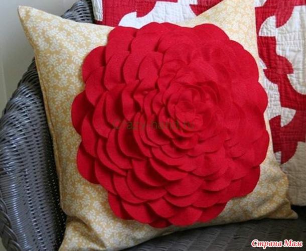 Декоративные подушки своими руками с цветами