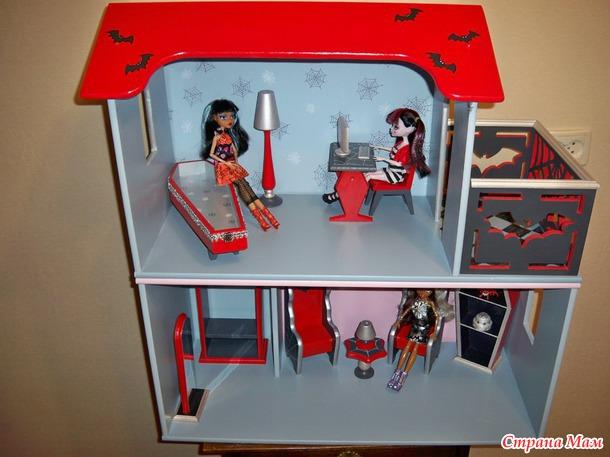 Как сделать домик из коробки монстер хай 616