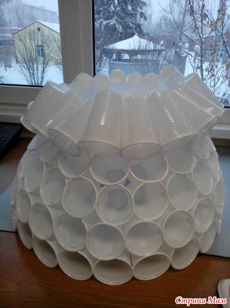 Как сделать голову снеговика из пластиковых стаканчиков фото 718