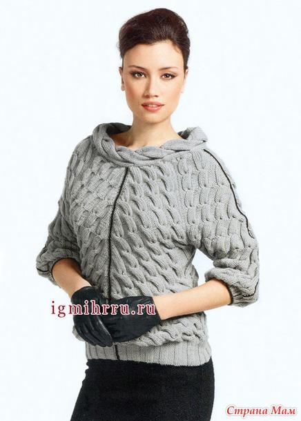 Пуловер с диагональными косами