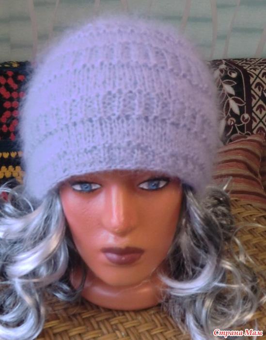 Вязании спицами шапки из мохера 722