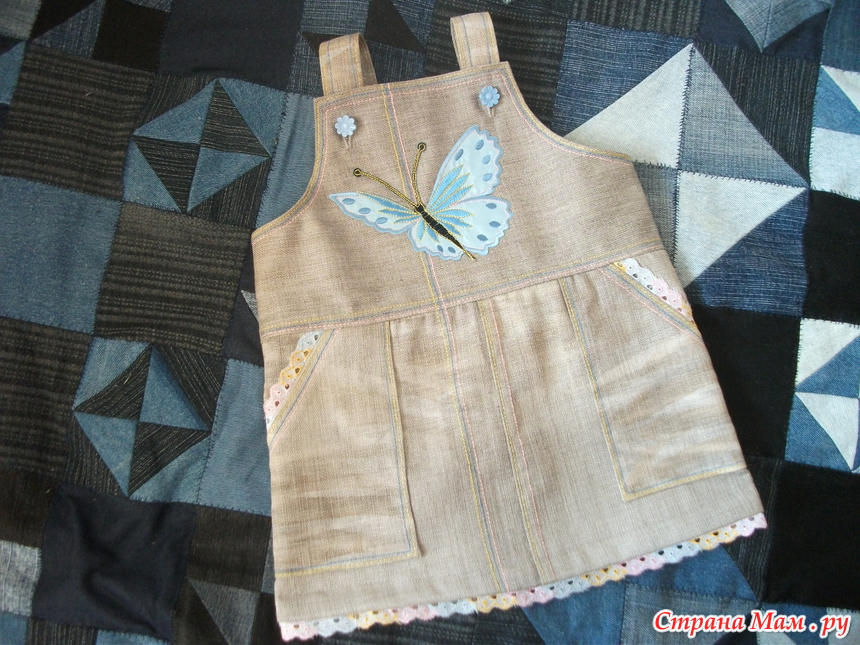 как выкроить детский сарафан из джинсов