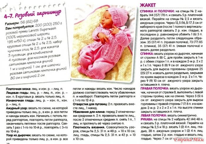 Вязание спицами для детей до года с описанием и схемами спицами